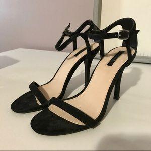 Black Suede Strappy Heels
